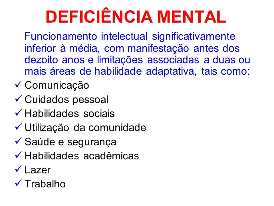 DEFICIÊNCIA MENTAL Funcionamento intelectual significativamente inferior à média, com manifestação antes dos dezoito anos e limitações associadas a du