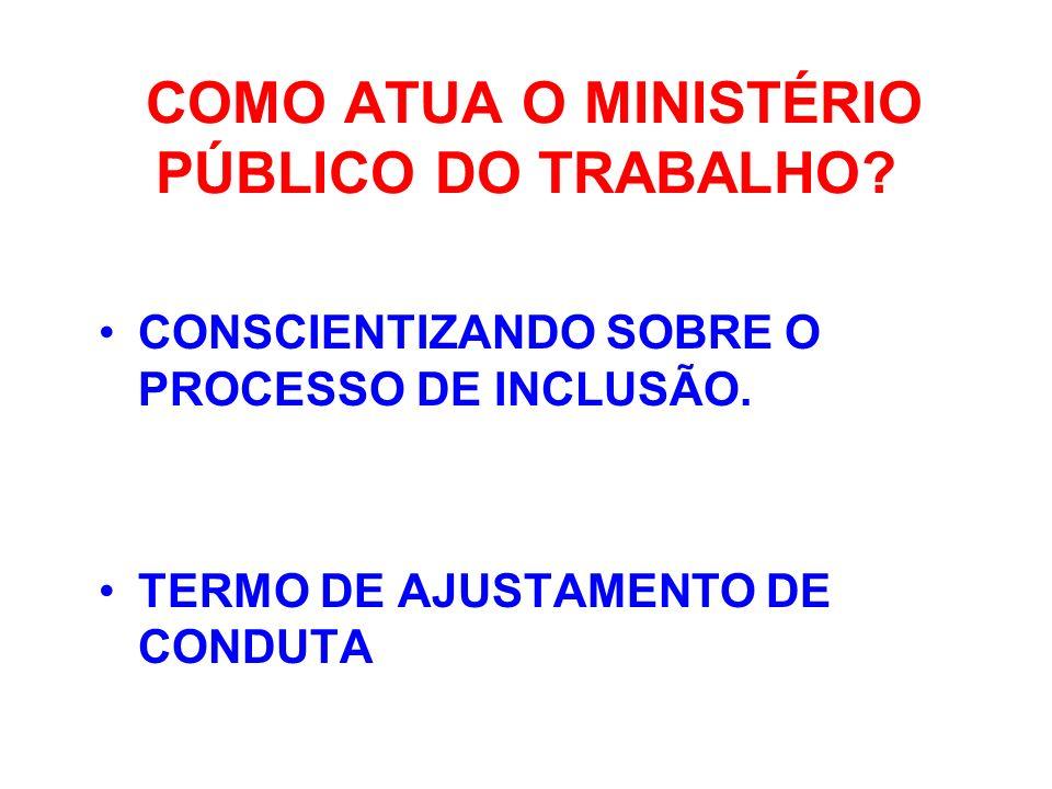 COMO ATUA O MINISTÉRIO PÚBLICO DO TRABALHO? CONSCIENTIZANDO SOBRE O PROCESSO DE INCLUSÃO. TERMO DE AJUSTAMENTO DE CONDUTA