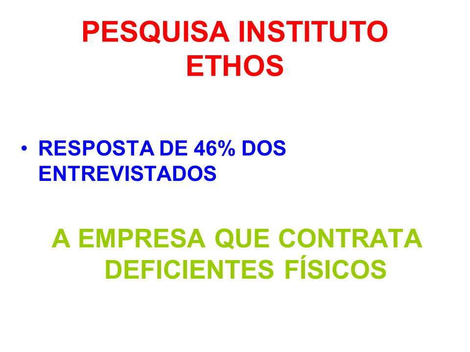PESQUISA INSTITUTO ETHOS RESPOSTA DE 46% DOS ENTREVISTADOS A EMPRESA QUE CONTRATA DEFICIENTES FÍSICOS