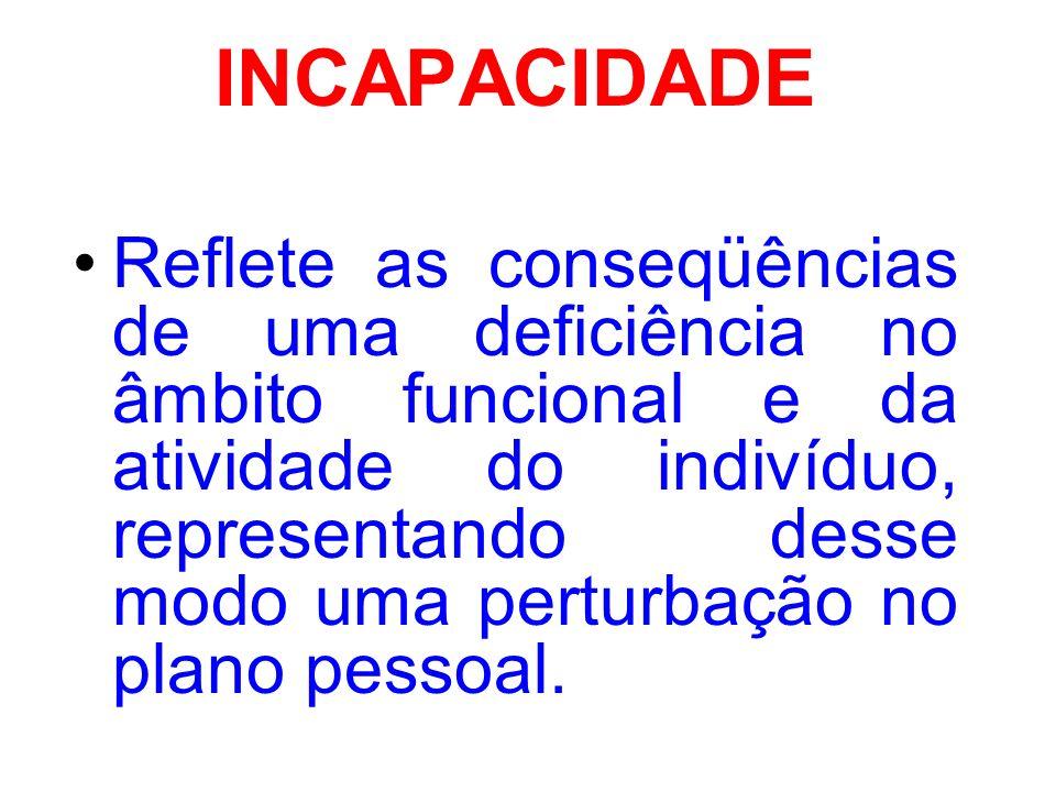 INCAPACIDADE Reflete as conseqüências de uma deficiência no âmbito funcional e da atividade do indivíduo, representando desse modo uma perturbação no