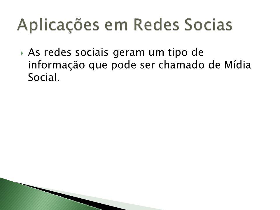 As redes sociais geram um tipo de informação que pode ser chamado de Mídia Social.