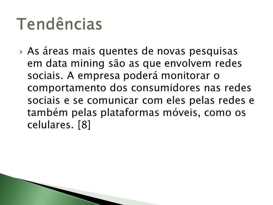 As áreas mais quentes de novas pesquisas em data mining são as que envolvem redes sociais. A empresa poderá monitorar o comportamento dos consumidores