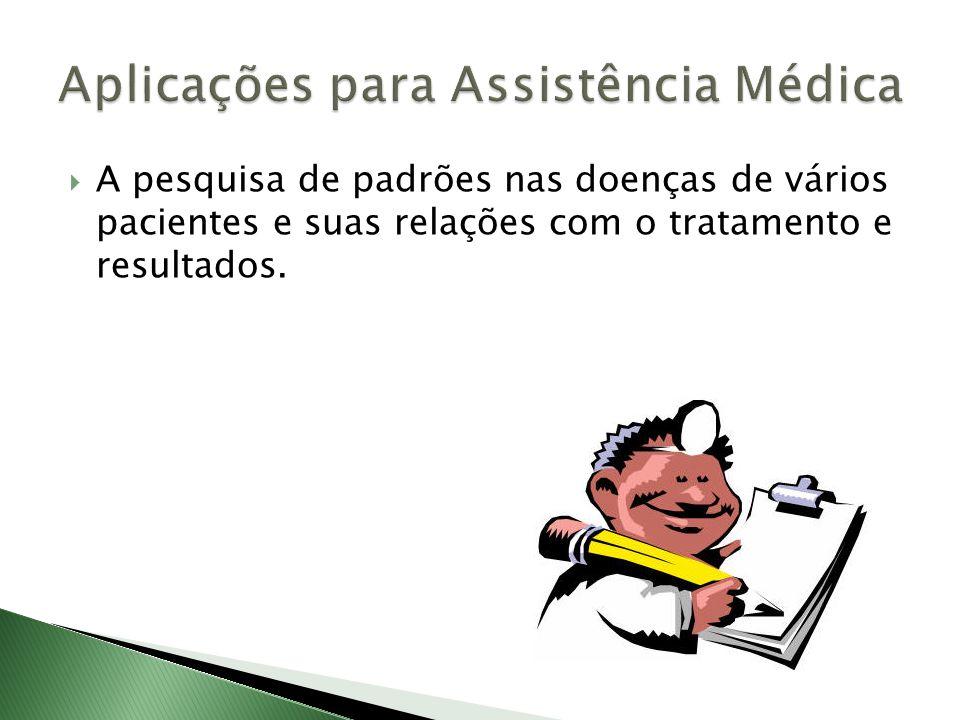 A pesquisa de padrões nas doenças de vários pacientes e suas relações com o tratamento e resultados.