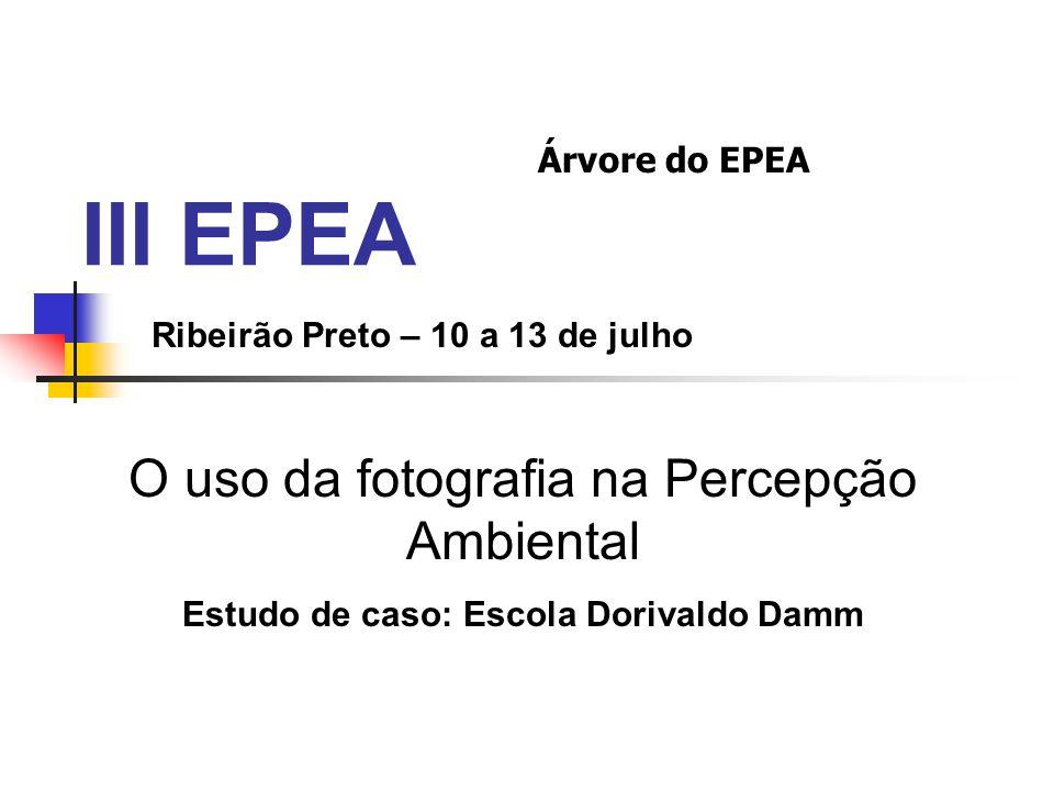 III EPEA Ribeirão Preto – 10 a 13 de julho O uso da fotografia na Percepção Ambiental Estudo de caso: Escola Dorivaldo Damm Árvore do EPEA