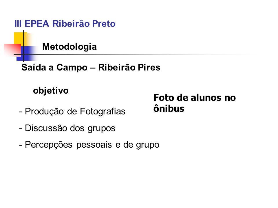 III EPEA Ribeirão Preto Metodologia Saída a Campo – Ribeirão Pires - Produção de Fotografias - Discussão dos grupos - Percepções pessoais e de grupo o