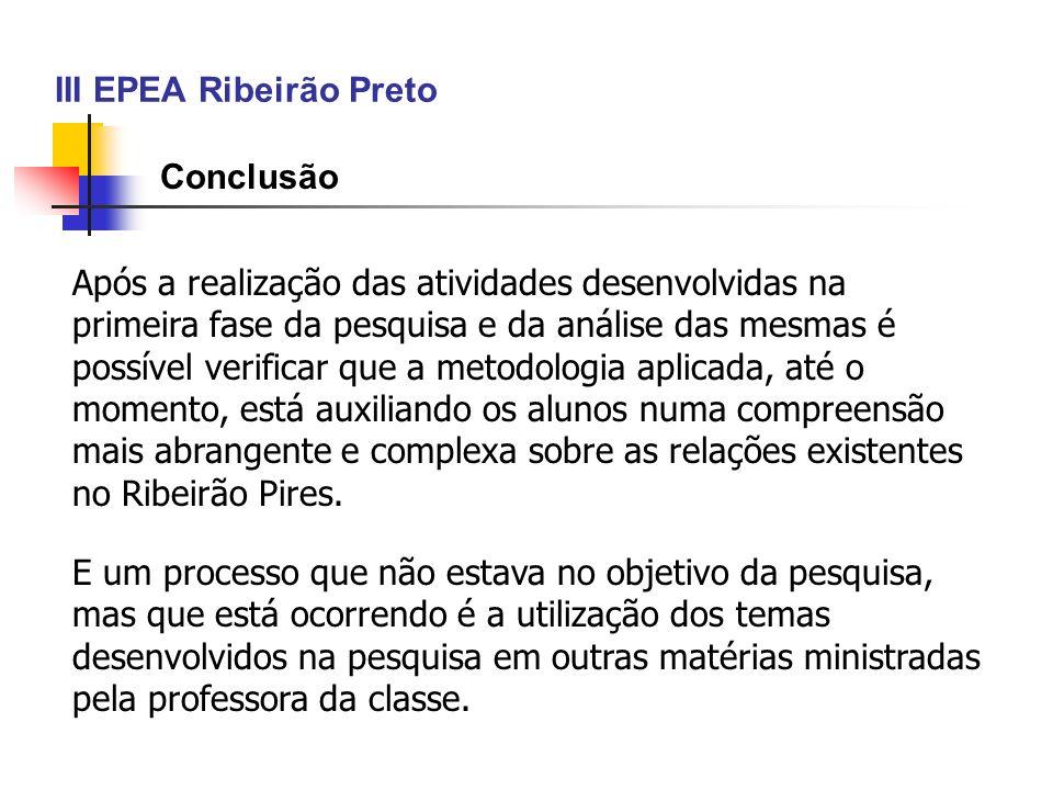 III EPEA Ribeirão Preto Conclusão Após a realização das atividades desenvolvidas na primeira fase da pesquisa e da análise das mesmas é possível verif