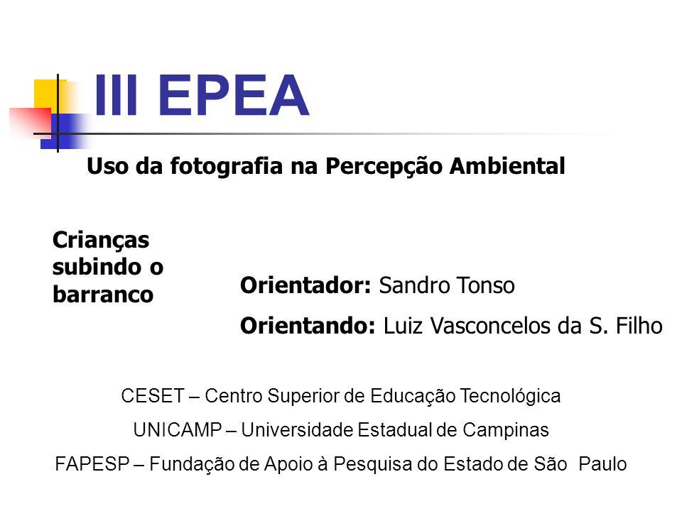 III EPEA Orientador: Sandro Tonso Orientando: Luiz Vasconcelos da S. Filho CESET – Centro Superior de Educação Tecnológica UNICAMP – Universidade Esta