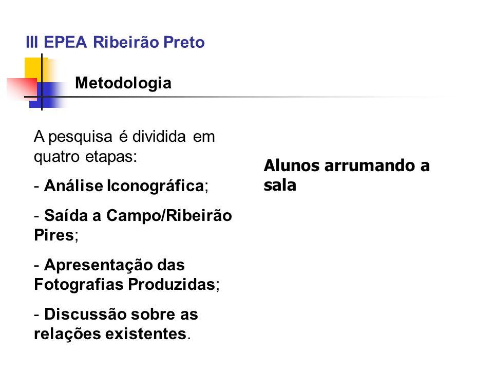 III EPEA Ribeirão Preto Metodologia A pesquisa é dividida em quatro etapas: - Análise Iconográfica; - Saída a Campo/Ribeirão Pires; - Apresentação das