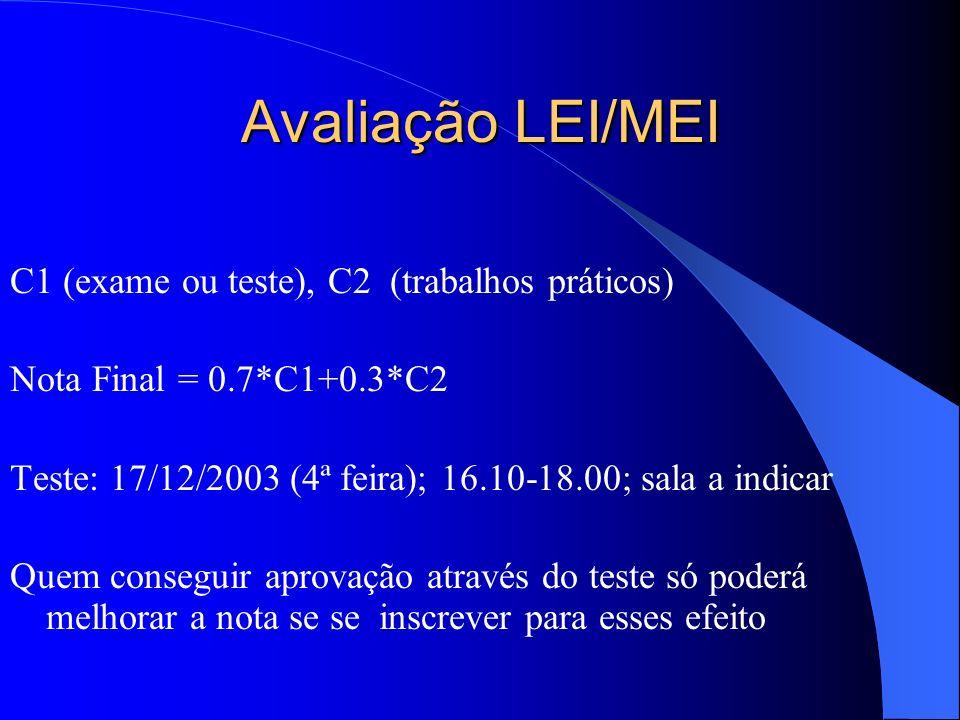 Avaliação LEI/MEI C1 (exame ou teste), C2 (trabalhos práticos) Nota Final = 0.7*C1+0.3*C2 Teste: 17/12/2003 (4ª feira); 16.10-18.00; sala a indicar Quem conseguir aprovação através do teste só poderá melhorar a nota se se inscrever para esses efeito