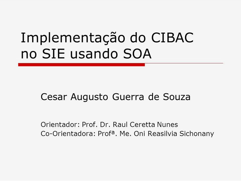 Roteiro da Apresentação Objetivos Revisão da Literatura SOA Web Services SIE CIBAC Implementação CIBAC Arquitetura SIE-Saúde Modelagem do Banco de Dados Serviços Delegação Teste