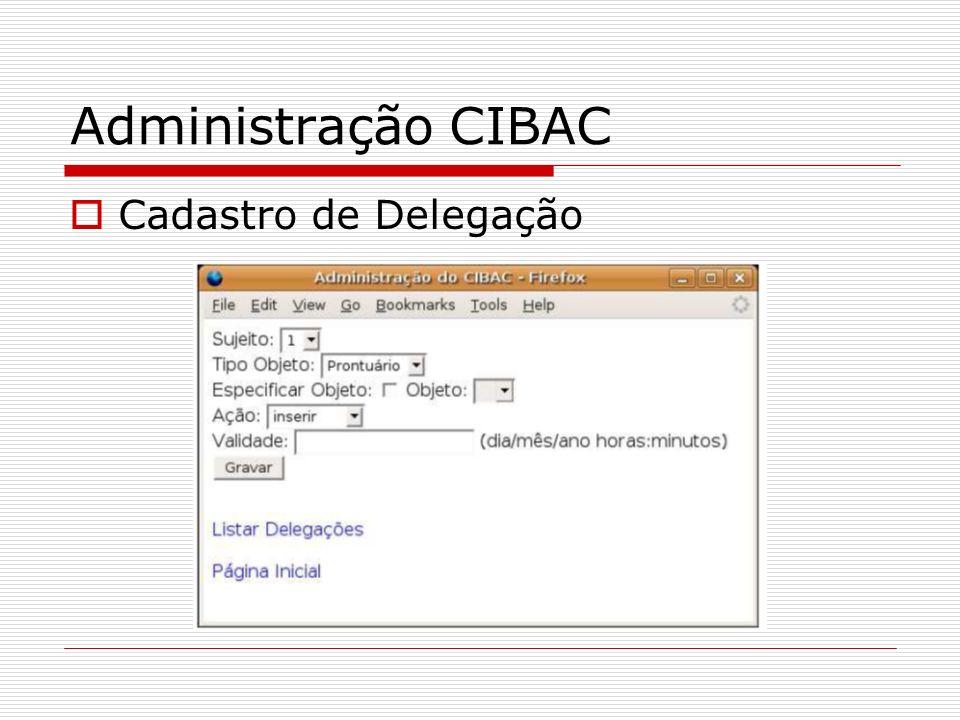 Administração CIBAC Cadastro de Delegação