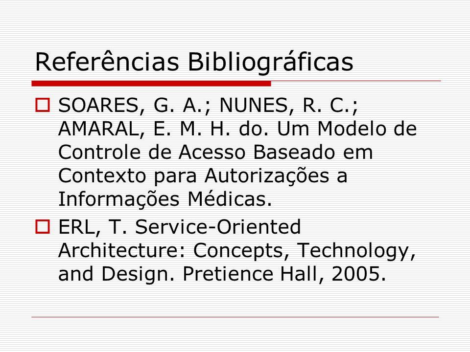 Referências Bibliográficas SOARES, G. A.; NUNES, R. C.; AMARAL, E. M. H. do. Um Modelo de Controle de Acesso Baseado em Contexto para Autorizações a I