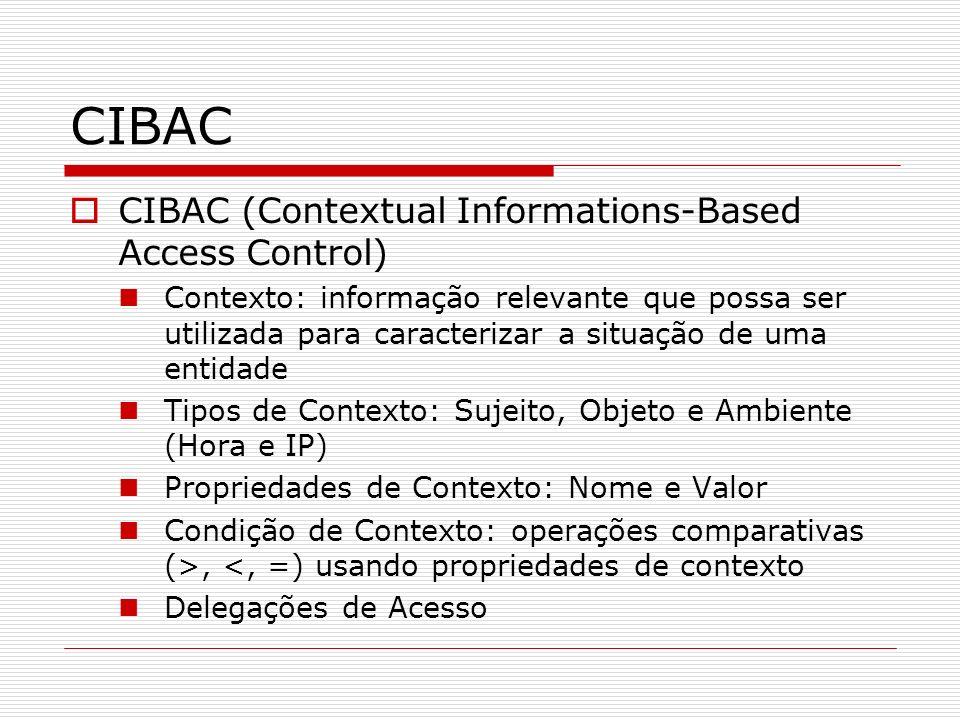 Políticas representadas em XACML Linguagem para descrição de políticas de controle de acesso Define também o formato de uma requisição e resposta, manipulados por um Ponto de Decisão de Políticas (PDP) Estrutura das políticas XACML: Alvo (Target) Regras Obrigações Existência de APIs para a fácil utilização do XACML