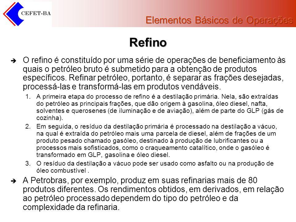Refino O refino é constituído por uma série de operações de beneficiamento às quais o petróleo bruto é submetido para a obtenção de produtos específic