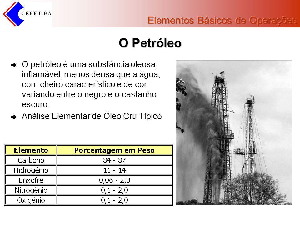 O Petróleo O petróleo é uma substância oleosa, inflamável, menos densa que a água, com cheiro característico e de cor variando entre o negro e o casta