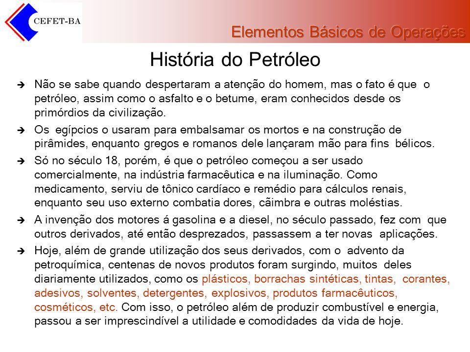 História do Petróleo Não se sabe quando despertaram a atenção do homem, mas o fato é que o petróleo, assim como o asfalto e o betume, eram conhecidos