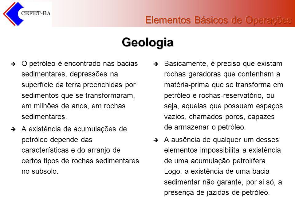 Geologia O petróleo é encontrado nas bacias sedimentares, depressões na superfície da terra preenchidas por sedimentos que se transformaram, em milhõe