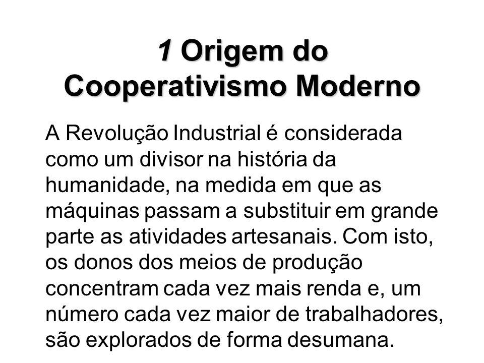 1Origem do Cooperativismo Moderno 1 Origem do Cooperativismo Moderno A Revolução Industrial é considerada como um divisor na história da humanidade, n