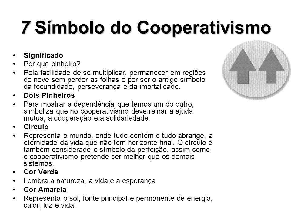 7Símbolo do Cooperativismo 7 Símbolo do Cooperativismo Significado Por que pinheiro? Pela facilidade de se multiplicar, permanecer em regiões de neve