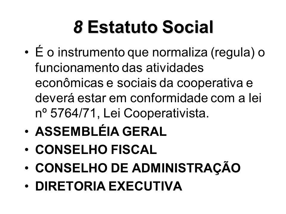 8Estatuto Social 8 Estatuto Social É o instrumento que normaliza (regula) o funcionamento das atividades econômicas e sociais da cooperativa e deverá