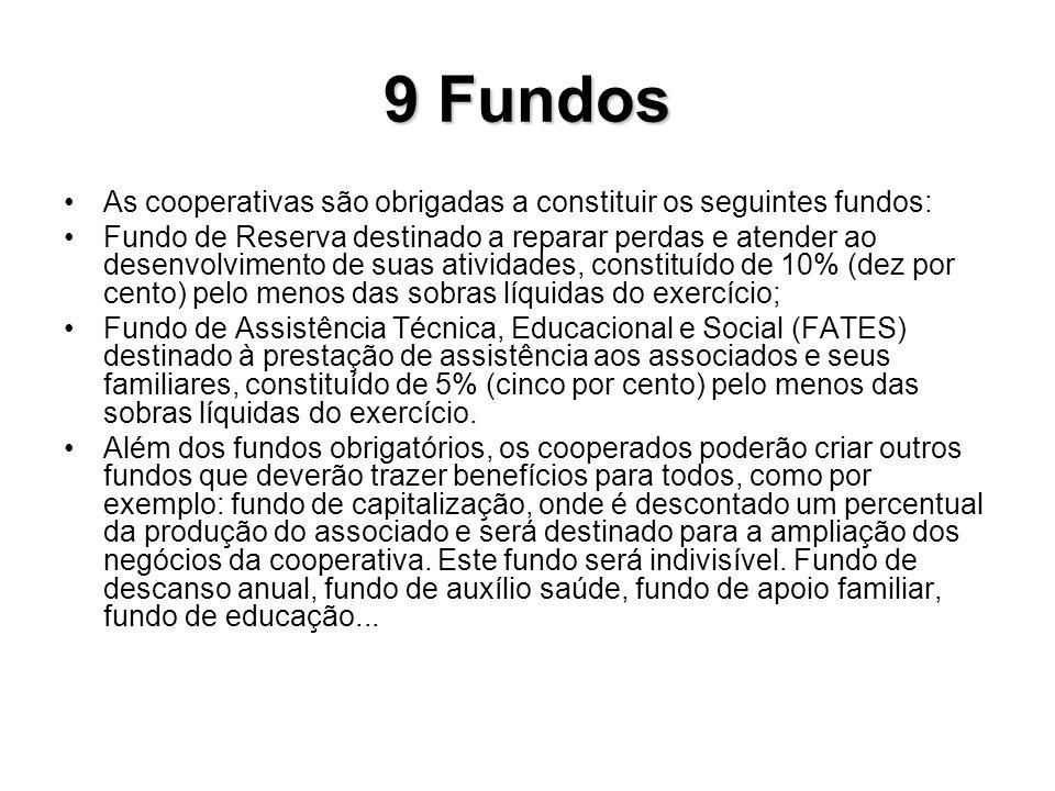 9 Fundos As cooperativas são obrigadas a constituir os seguintes fundos: Fundo de Reserva destinado a reparar perdas e atender ao desenvolvimento de s