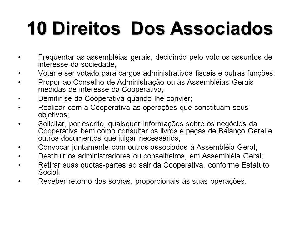 10 Direitos Dos Associados Freqüentar as assembléias gerais, decidindo pelo voto os assuntos de interesse da sociedade; Votar e ser votado para cargos