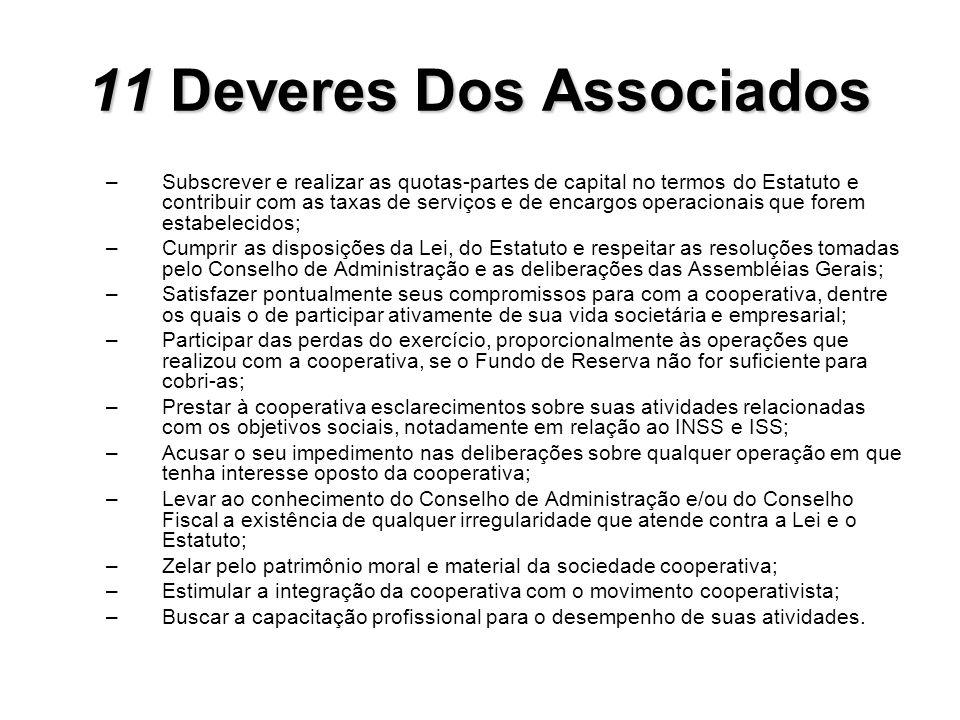 11Deveres Dos Associados 11 Deveres Dos Associados –Subscrever e realizar as quotas-partes de capital no termos do Estatuto e contribuir com as taxas