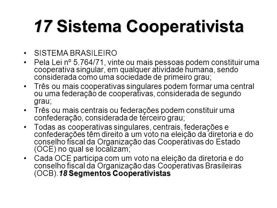 17Sistema Cooperativista 17 Sistema Cooperativista SISTEMA BRASILEIRO Pela Lei nº 5.764/71, vinte ou mais pessoas podem constituir uma cooperativa sin