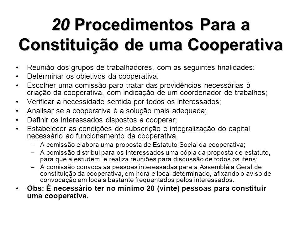 20 Procedimentos Para a Constituição de uma Cooperativa Reunião dos grupos de trabalhadores, com as seguintes finalidades: Determinar os objetivos da