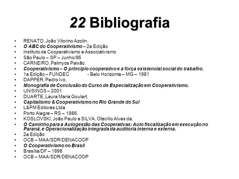 22Bibliografia 22 Bibliografia RENATO, João Vitorino Azolin. O ABC do Cooperativismo – 2a Edição Instituto de Cooperativismo e Associativismo São Paul
