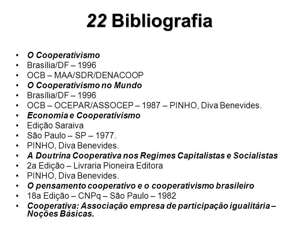 O Cooperativismo Brasília/DF – 1996 OCB – MAA/SDR/DENACOOP O Cooperativismo no Mundo Brasília/DF – 1996 OCB – OCEPAR/ASSOCEP – 1987 – PINHO, Diva Bene
