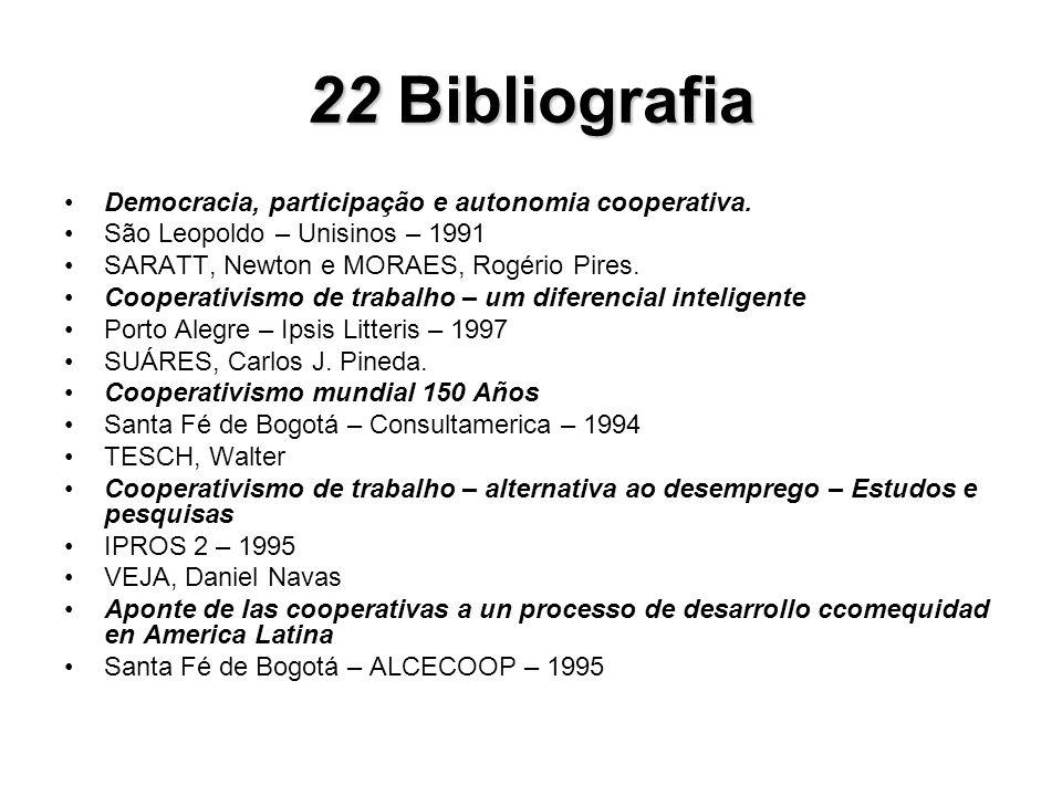 22Bibliografia 22 Bibliografia Democracia, participação e autonomia cooperativa. São Leopoldo – Unisinos – 1991 SARATT, Newton e MORAES, Rogério Pires