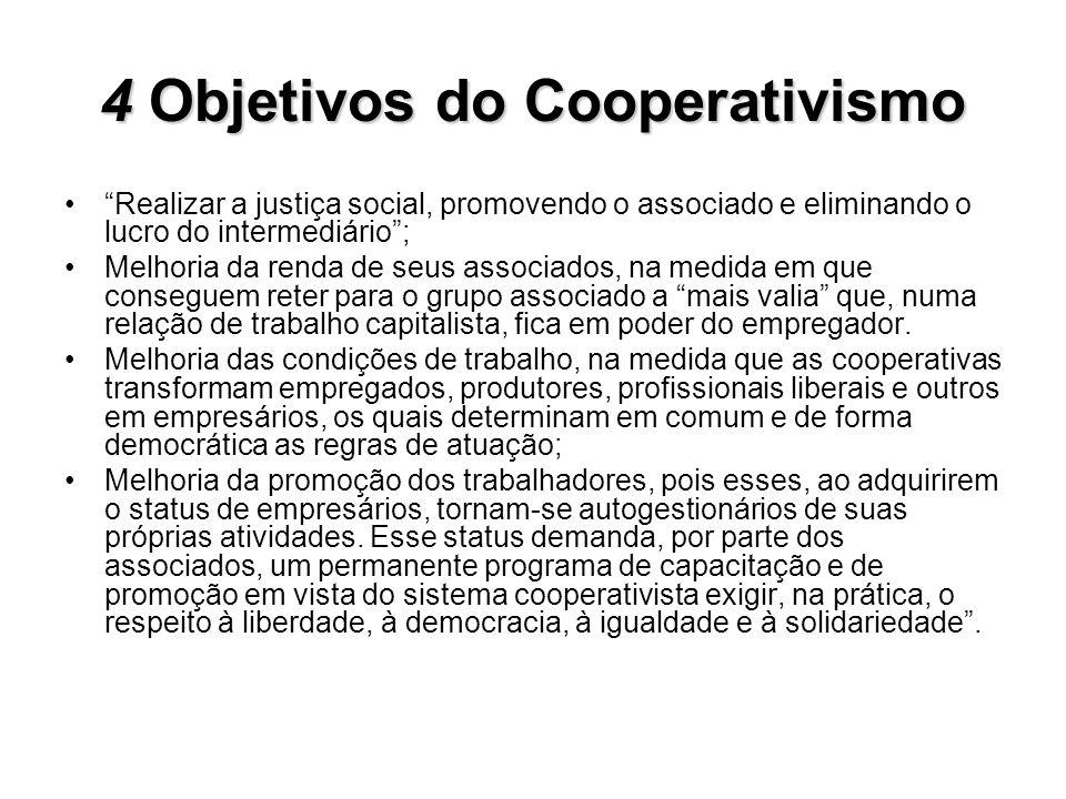 4Objetivos do Cooperativismo 4 Objetivos do Cooperativismo Realizar a justiça social, promovendo o associado e eliminando o lucro do intermediário; Me