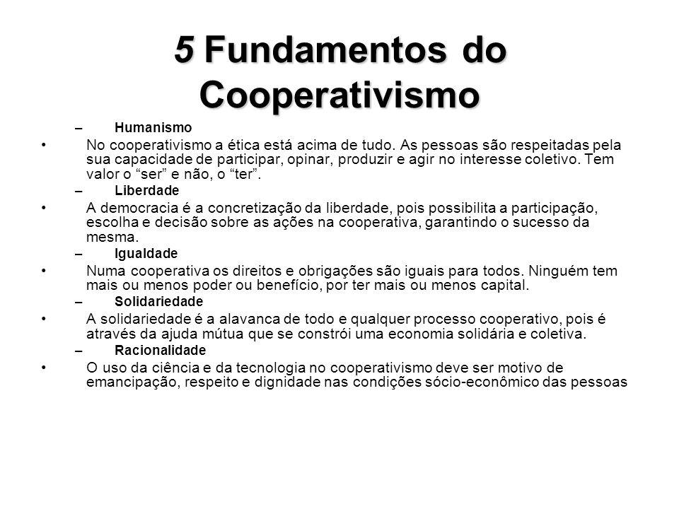 5Fundamentos do Cooperativismo 5 Fundamentos do Cooperativismo –Humanismo No cooperativismo a ética está acima de tudo. As pessoas são respeitadas pel