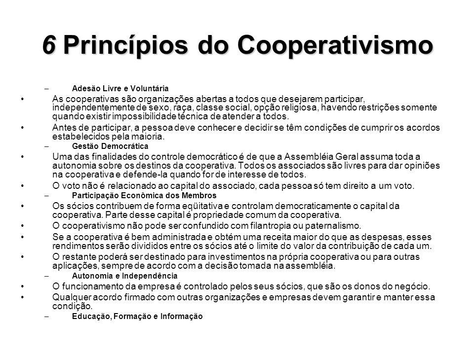 6Princípios do Cooperativismo 6 Princípios do Cooperativismo –Adesão Livre e Voluntária As cooperativas são organizações abertas a todos que desejarem