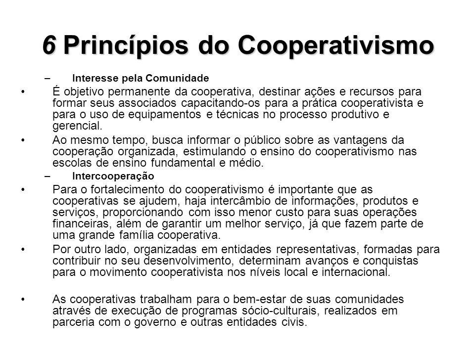 6Princípios do Cooperativismo 6 Princípios do Cooperativismo –Interesse pela Comunidade É objetivo permanente da cooperativa, destinar ações e recurso