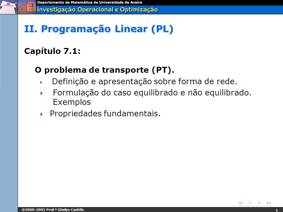 ©2000-2001 Prof.ª Gladys Castillo 1 II. Programação Linear (PL) Capítulo 7.1: O problema de transporte (PT). Definição e apresentação sobre forma de r