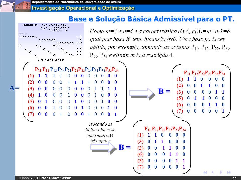 ©2000-2001 Prof.ª Gladys Castillo 33 B Como m=3 e n=4 e a característica de A, c(A)=m+n-1=6, qualquer base B tem dimensão 6x6. Uma base pode ser obtid