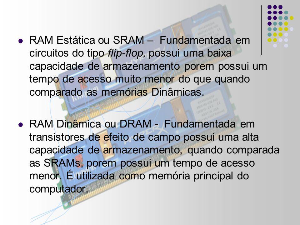 RAM Estática ou SRAM – Fundamentada em circuitos do tipo flip-flop, possui uma baixa capacidade de armazenamento porem possui um tempo de acesso muito menor do que quando comparado as memórias Dinâmicas.