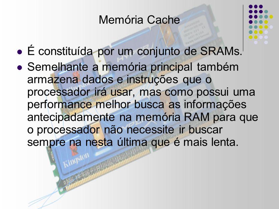 Memória Cache É constituída por um conjunto de SRAMs.