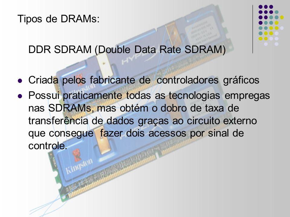 Tipos de DRAMs: DDR SDRAM (Double Data Rate SDRAM) Criada pelos fabricante de controladores gráficos Possui praticamente todas as tecnologias empregas nas SDRAMs, mas obtém o dobro de taxa de transferência de dados graças ao circuito externo que consegue fazer dois acessos por sinal de controle.