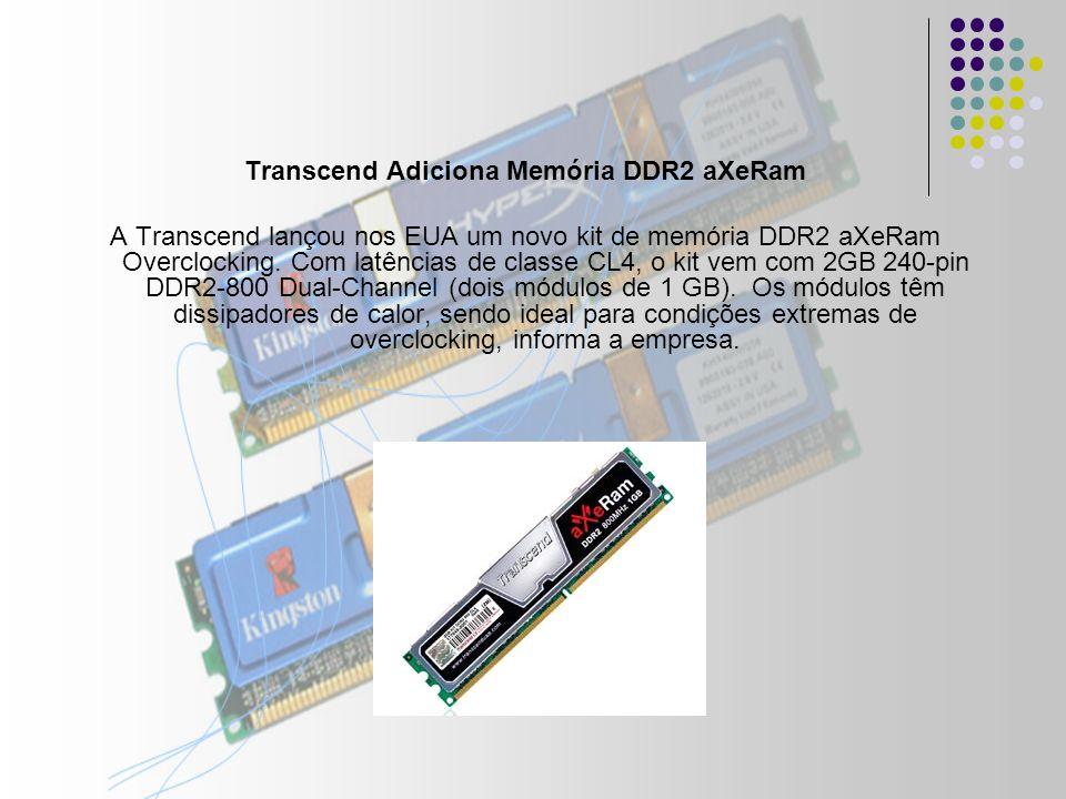 Transcend Adiciona Memória DDR2 aXeRam A Transcend lançou nos EUA um novo kit de memória DDR2 aXeRam Overclocking.