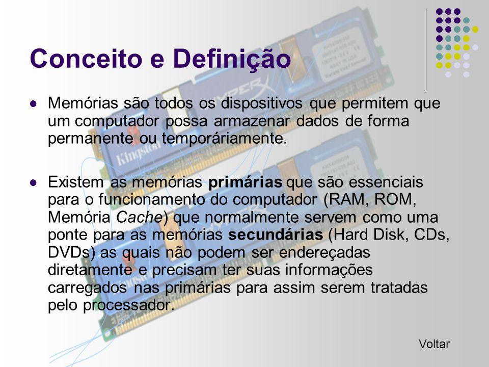 Conceito e Definição Memórias são todos os dispositivos que permitem que um computador possa armazenar dados de forma permanente ou temporáriamente.