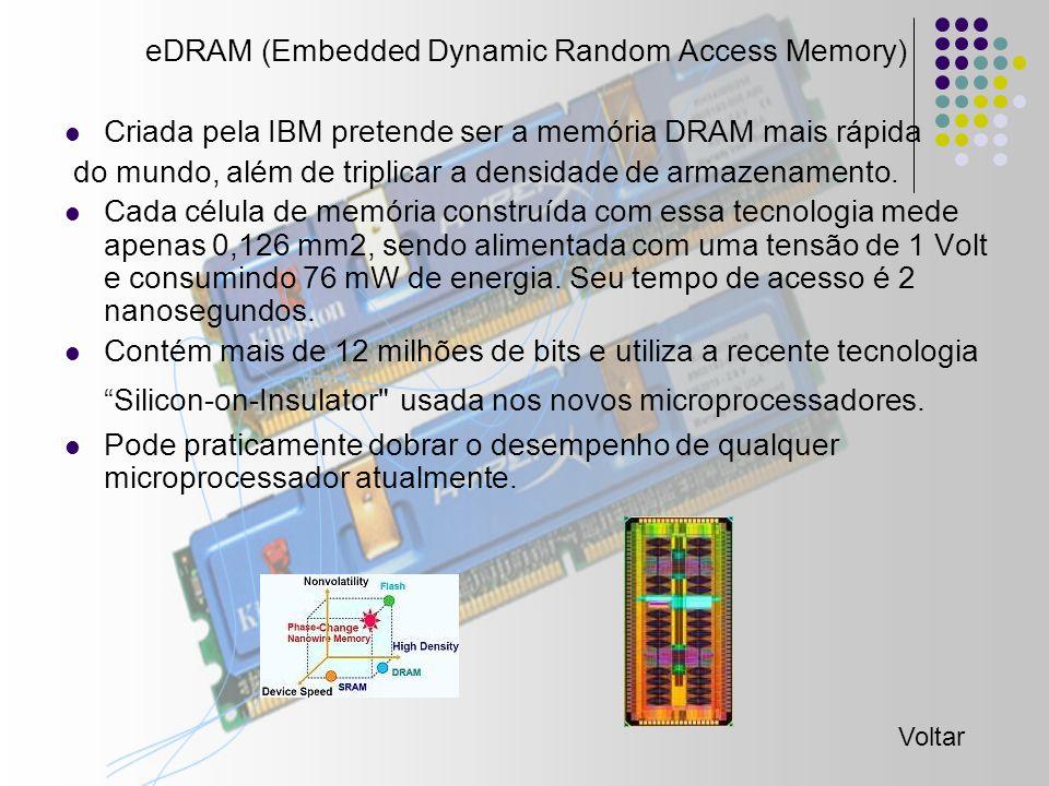 eDRAM (Embedded Dynamic Random Access Memory) Criada pela IBM pretende ser a memória DRAM mais rápida do mundo, além de triplicar a densidade de armazenamento.