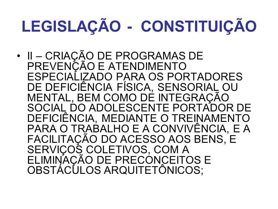 LEGISLAÇÃO - CONSTITUIÇÃO II – CRIAÇÃO DE PROGRAMAS DE PREVENÇÃO E ATENDIMENTO ESPECIALIZADO PARA OS PORTADORES DE DEFICIÊNCIA FÍSICA, SENSORIAL OU ME