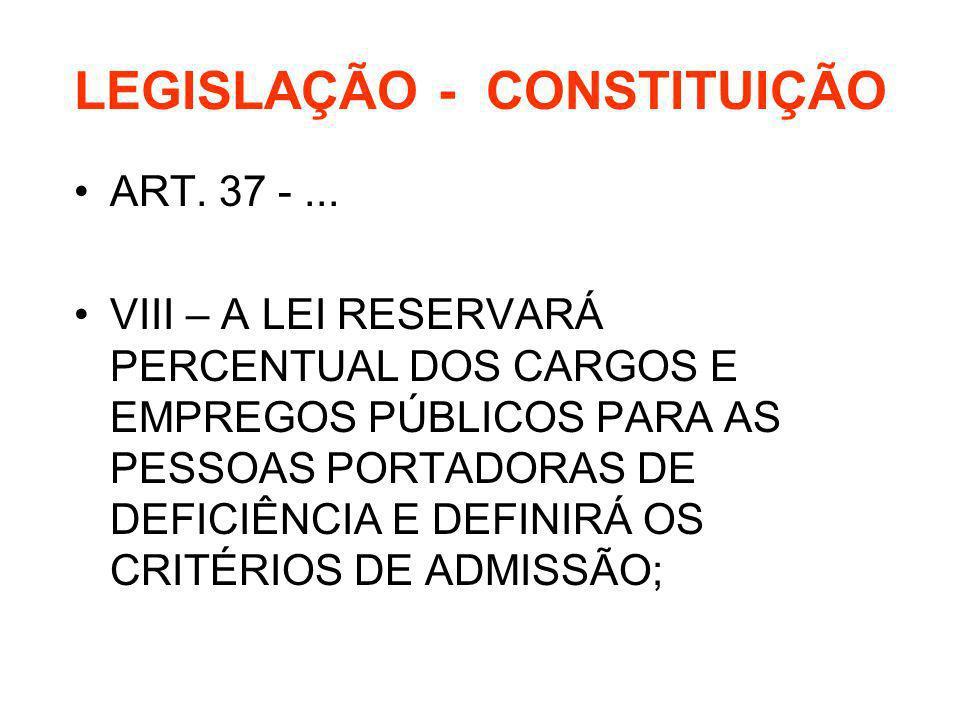 LEGISLAÇÃO - CONSTITUIÇÃO ART. 37 -... VIII – A LEI RESERVARÁ PERCENTUAL DOS CARGOS E EMPREGOS PÚBLICOS PARA AS PESSOAS PORTADORAS DE DEFICIÊNCIA E DE