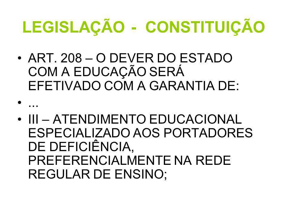 LEGISLAÇÃO - CONSTITUIÇÃO ART. 208 – O DEVER DO ESTADO COM A EDUCAÇÃO SERÁ EFETIVADO COM A GARANTIA DE:... III – ATENDIMENTO EDUCACIONAL ESPECIALIZADO