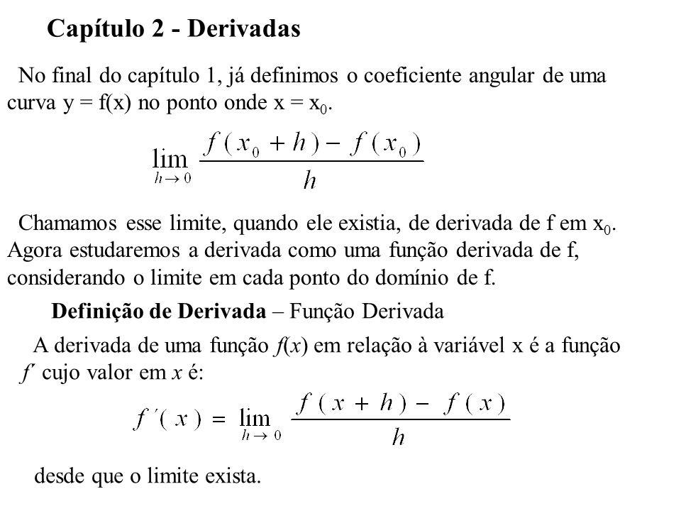 No final do capítulo 1, já definimos o coeficiente angular de uma curva y = f(x) no ponto onde x = x 0. Capítulo 2 - Derivadas Chamamos esse limite, q