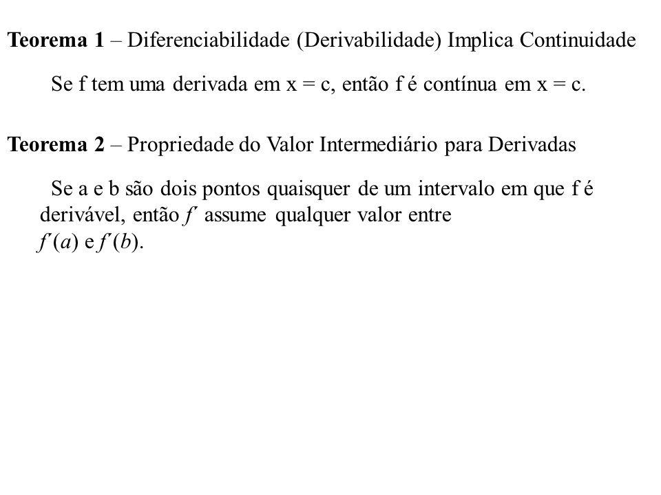 Teorema 1 – Diferenciabilidade (Derivabilidade) Implica Continuidade Se f tem uma derivada em x = c, então f é contínua em x = c. Teorema 2 – Propried