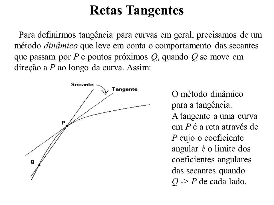 Retas Tangentes Para definirmos tangência para curvas em geral, precisamos de um método dinâmico que leve em conta o comportamento das secantes que passam por P e pontos próximos Q, quando Q se move em direção a P ao longo da curva.